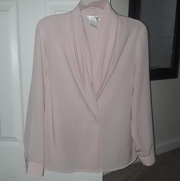 Sasson Tops Light Pink Dressy Long Sleeve Blouse Poshmark